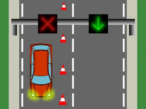 opposite-direction lane